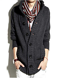 Men's Casual/Daily Simple Regular Cardigan,Solid Stand Long Sleeves Polyester Fall Winter Medium Micro-elastic