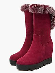 Черный Красный-Женский-Повседневный-Наппа Leather-На платформе-На платформе-Ботинки