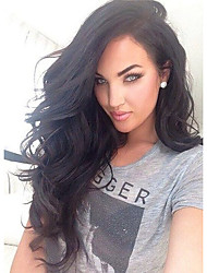 Hot Long Body Wave Hairstyle Dark Black Color Brazilian Virgin Human Hair Lace Front Wig With Baby Hair
