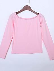 Tee-shirt Aux femmes,Couleur Pleine Sortie Sexy Toutes les Saisons Manches Longues Bateau Rose Coton / Rayonne Fin