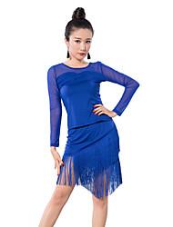 TenueTulle / Fibre de LaitFemme Frange (s) Entraînement Danse latine Taille moyenne