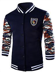 Masculino Jacket Hoodie,Esportivo Cor Única Colarinho Chinês Micro-Elástico Algodão Manga Comprida Outono / Inverno