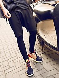 Masculino Skinny Chinos / Calças Esportivas Calças-Cor Única Casual / Esportivo Simples / Activo Cintura Média Com Cordão Algodão