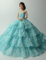 Вечеринка Платья Для Кукла Барби Синий Кружева Платья Для Девичий игрушки куклы