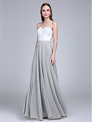 2017 Lanting Bride® Floor-length Chiffon / Lace Bridesmaid Dress - A-line Sweetheart with Lace
