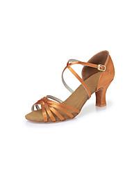 Non Customizable Women's Dance Shoes Satin Satin Latin Heels Chunky Heel Indoor BrownCL14 CL23