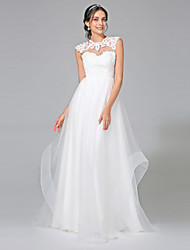 LAN TING BRIDE A-line Wedding Dress - Chic & Modern Open Back Sweep / Brush Train Jewel Tulle with Appliques