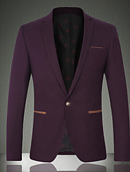 Men's Casual/Daily / Work / Party/Cocktail Vintage / SimpleSolid Shirt Collar Long Sleeve Fall / Winter Purple Wool / Cotton Medium