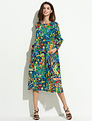 Women's Casual Ethnic Print Loose Dress,Print Round Neck Above Knee Long Sleeve Multi-color Cotton / Linen Spring / Fall