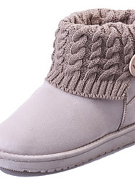 Women's Boots Fall Winter Comfort Fur Outdoor Casual Flat Heel Flower Black Pink Beige Coffee Walking