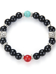 The Foreign Trade Amazon Sell Like Hot Cakes Matte Black Stone Beads Bracelet With Alloy Spacer Bracelet