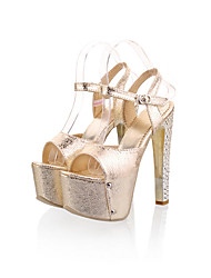 Women's Sandals Summer Platform Comfort Ankle Strap PU Wedding Casual Party & Evening Stiletto Heel Buckle Silver Gold Walking