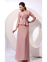 Sheath / Column Mother of the Bride Dress - Convertible Dress Floor-length Sleeveless Chiffon with Sash / Ribbon