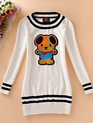 Women's Casual/Daily Simple Sweater Dress,Print Round Neck Above Knee Long Sleeve Blue / White Cotton Fall / Winter Mid Rise Micro-elastic
