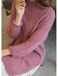 Ample Robe Femme Décontracté / Quotidien simple,Imprimé Col Arrondi Mi-long Manches Longues Gris / Jaune / Violet Fourrure de Lapin
