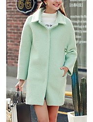 Women's Casual/Daily Simple Coat,Solid Shirt Collar Long Sleeve Spring / Fall Green Polyester Medium