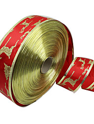 1PC 5CM Wide Christmas Decorative Ribbon Christmas Supplies Red Gold Phnom Penh Christmas Tree Deer Ribbon
