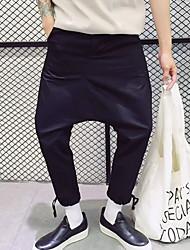 Men's Loose Chinos / Shorts Pants,Casual/Daily Simple Solid Mid Rise Drawstring / Elasticity Linen Micro-elastic All Seasons