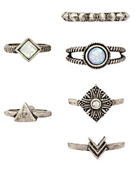 6 pcs/Set Vintage Style SIlver Opal Band Triangle Midi Ring Set