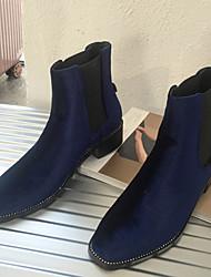 Damen-Stiefel-Lässig-Wildleder-BlockabsatzSchwarz Blau