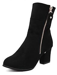 Women's Boots Winter Comfort Suede Casual Chunky Heel Black Burgundy