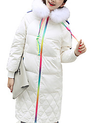 ADEAST Women's Long Padded CoatSimple / Casual/Daily  Cotton Polypropylene / Cotton Long Sleeve Hooded Fur Trim