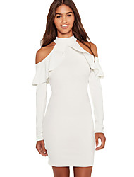 Women's White Frill Cold Shoulder Long Sleeve Dress