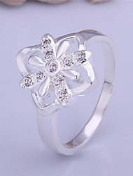 Jewelry Women Alloy Silver Hollow Flower Ring