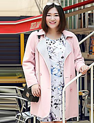 MsShe Women's Plus Size / Casual/Daily Simple Trench CoatSolid V Neck Long Sleeve Fall Pink / Gray Polyester