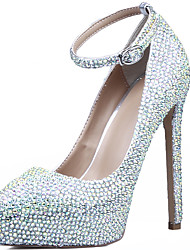Da donna-Tacchi-Matrimonio-Plateau Comoda Club Shoes Light Up Shoes-A stiletto Tacco in cristallo-Pelle-Argento