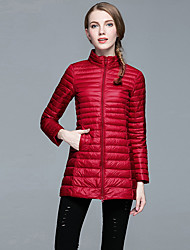 Women's Down Coat,Simple Casual/Daily Solid-Polyester White Duck Down Long Sleeve Red / Black / Purple