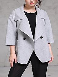 Feminino Casaco Informal / Casual / Festa/Coquetel Sensual / Simples Primavera / Outono,Sólido Rosa / Cinza Lã Colarinho de Camisa-Manga