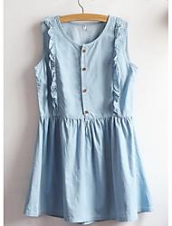 Trapèze Robe Femme Décontracté / Quotidien Sexy / simple,Couleur Pleine Col en U Mi-long Sans Manches Bleu Spandex Printemps / EtéTaille