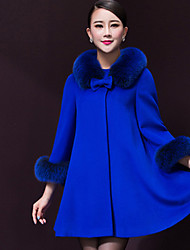 Women's Going out / Party/Cocktail / Holiday Simple Pea Coats,Solid Round Neck Long Sleeve Winter Blue / Yellow Wool Medium / Thick
