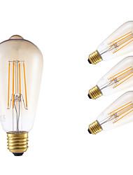 6W E26/E27 LED лампы накаливания ST64 4 COB 550 lm Янтарный Регулируемая / Декоративная AC 220-240 V 4 шт.