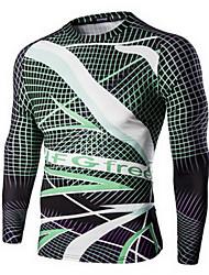 Men's Beach / Club Active Fall T-shirt,Color Block Crew Neck Long Sleeve Green Cotton Thin