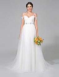 Lanting Bride® Trapèze Robe de Mariage - Classique & Intemporel Tout Simplement Superbe Traîne Tribunal Bretelles Tulle avecPerlage /