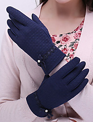 Women Lamb Fur Fingertips Wrist Length,Jacquard Casual Winter