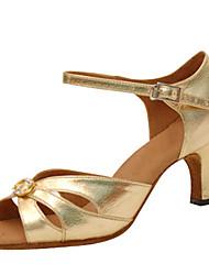 Sapatos de Dança(Dourado) -Feminino-Personalizável-Latina / Jazz / Salsa / Sapatos de Swing