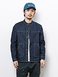 Men's Casual/Daily Vintage Denim Jackets,Solid V Neck Long Sleeve Spring / Fall Blue Cotton Medium