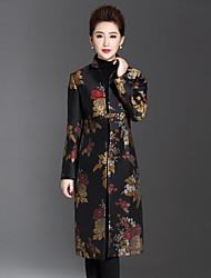 1898 Women's Plus Size / Casual/Daily Chinoiserie CoatJacquard Stand Long Sleeve Winter Black Polyester / Spandex