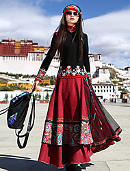 Women's Casual/Daily Midi Skirts,Boho A Line Pleated Print Fall