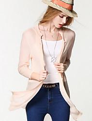 Damen Lang Strickjacke-Lässig/Alltäglich Einfach Solide Rosa V-Ausschnitt ¾-Arm Polyester Frühling Dünn Mikro-elastisch