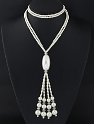 Women Fashion Elegant Simple Long Imitation Pearl Tassel 1pc Gift White
