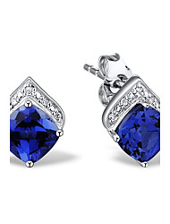Women's Fashion Sterling Silver set with Created Sapphire Earring