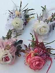 Fleurs de mariage Roses Boutonnières Mariage La Fête / soirée Satin Tulle Cuir