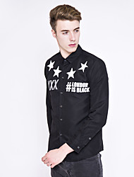 Men's Wedding / Formal / Work Simple / Cute / Street chic All Seasons Shirt,Solid / Galaxy Shirt Collar Long Sleeve Red / White / Black
