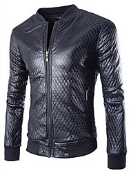 Men's Casual/Daily / Work Simple Leather Jackets,Solid Stand Long Sleeve All Seasons Black Cowhide Medium