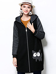 MEIDONGTAI  Women's Plus Size / Casual/Daily Vintage CoatSolid Hooded Long Sleeve Winter Black Polyester Medium
