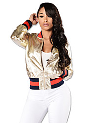 Women's Going out / Casual/Daily / Party/Cocktail Sexy / Simple / Street chic Leather Jackets,Solid / Striped Round Neck Long SleeveAll